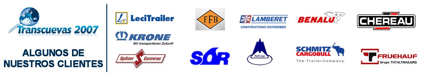 Transcuevas2007, Algunos de nuestros clientes como krone, Felbinder, fruehauf, Lamberet, lecitrailer, chereau, soriberica, SpitzerEurovrac, Benalu, Parcisa, Schmitz.